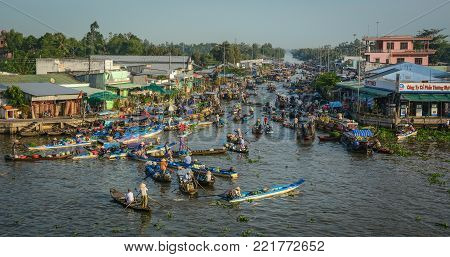 Soc Trang, Vietnam - Feb 2, 2016. Nga Nam Floating Market on Mekong River in Soc Trang, Vietnam. Mekong is the world 12th-longest river and the 7th-longest in Asia.