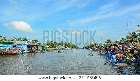 Soc Trang, Vietnam - Feb 2, 2016. Nga Nam Floating Market on Mekong River in Soc Trang, Southern Vietnam. Mekong is the longest river in Southeast Asia, the 7th longest in Asia.