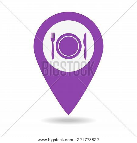 Map Marker Location With Fork And Knife.