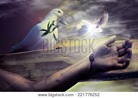 God blessing Jesus Christ before Easter resurrection Sunday