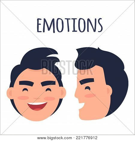 Men positive emotions concept. Brunette male face in full face and profile with smiling facial expression flat vector isolated on white. Laughing man emotive portrait for icon, avatar illustration