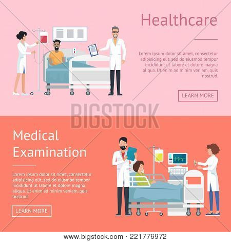 Healthcare and medical examination, pictures depicting doctor and nurse caring for patient after operation, web page vector illustration