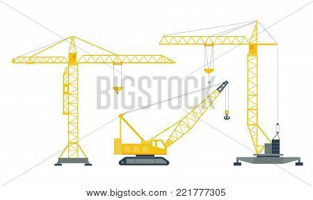 Set of isolated yellow hoisting cranes on white background. Collection of lifting cranes