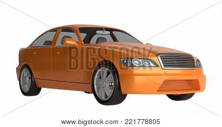 Generic brandless sports car. Isolated on white. 3d illustration