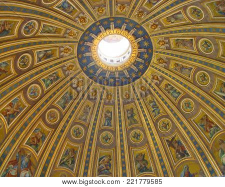 VATICAN CITY - OCTOBER 2013: Dome of Saint Peter's Basilica in Vatican City in Rome, Italy. Basilica is one of the main tourist attractions of Rome.