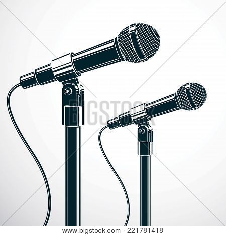 Stage microphones vector illustration isolated on white. Press conference, influence of social message.