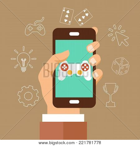 Mobile phone with touchscreen and game interface on it with icons around it. Mobile games development concept. Flat vector illustration