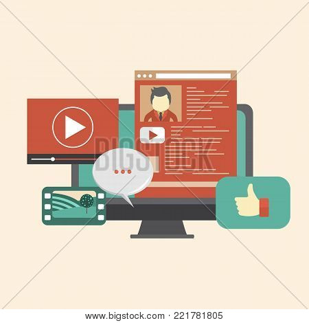Social media theme. Social network web site. Surfing the internet and chatting concept. Flat vector illustration