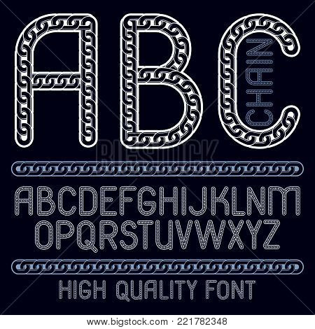 Vector type font, script from a to z. Capital decorative letters, abc created using chrome chain, linkage