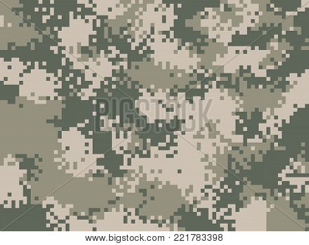 Digital pixel camouflage pattern. Military texture background. Khaki army camouflage