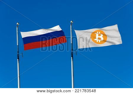 Russia flag and Bitcoin Flag waving over blue sky (digitally generated image)
