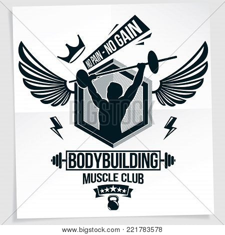 Gym advertising leaflet created with vector illustration of muscular bodybuilder holding barbell sport equipment. No pain, no gain quote.