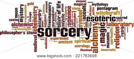 Sorcery word cloud concept. Vector illustration on white