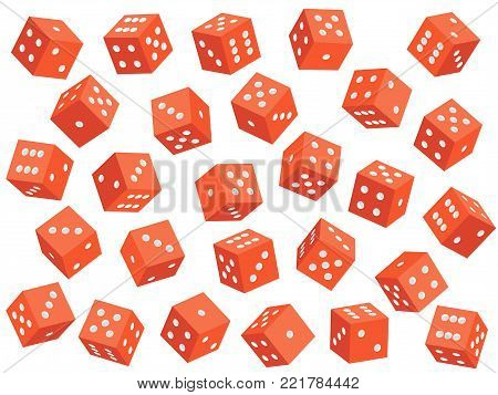 Craps on white. Red dice set. Vector illustration