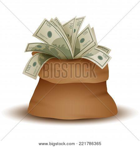 A big bag full of paper money. Moneybag, 10eps.