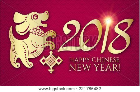 Happy Chinese New Year with Zodiac Dog, Lunar Calendar. Chinese Cute Character and 2018 Lettering. Prosperous Design.