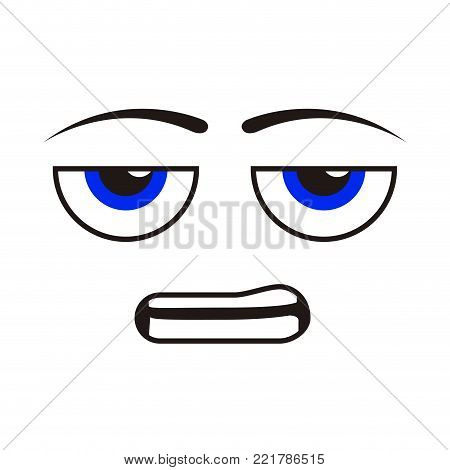 Borderless bored emoticon on a white background, Vector illustration