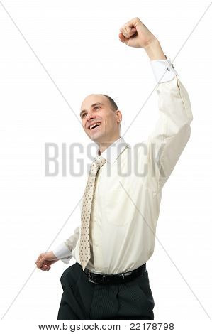 Excited Handsome Business Man With Arm Raised