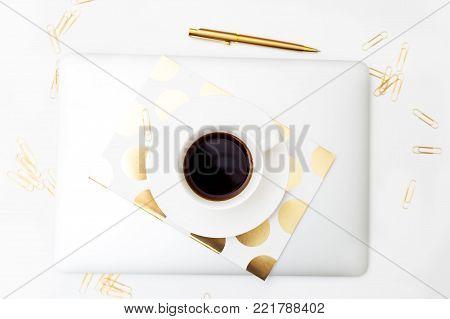 Coffee break flat lay. Feminine styling office desk