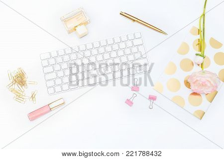 Gold Office and beauty cosmetics. Flat lay