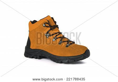 men's boot isolated on white background. Winter mountain shoes isolated