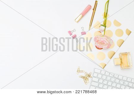 feminine Businesses. Feminine desk copy space