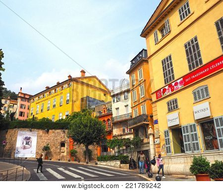GRASSE, FRANCE - OCTOBER 31, 2014: Parfumerie Fragonard facade house. Fragonard perfumery is one of the older factory in the world capital of perfumes