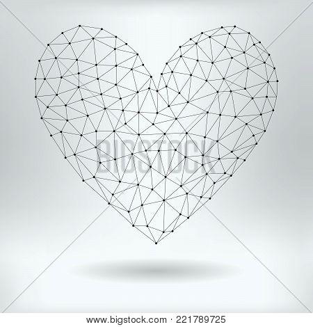 Vector Net Symbol of Heart - Reticulated Design