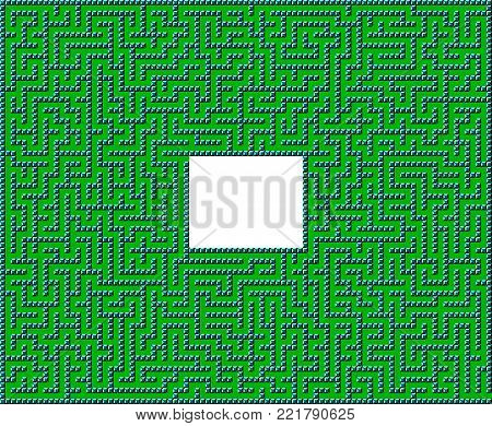 Difficult Vector Retro Game Maze for Children - Labyrinth Illustration
