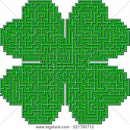 Vector Quatrefoil Leaf Clover Saint Patrick Day Maze for Children