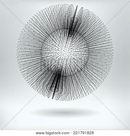 Abstract Needle  Ball - vector futuristic  illustration