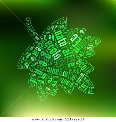 Green ECO Background with Leaf Tag Cloud   - Vector Illustration