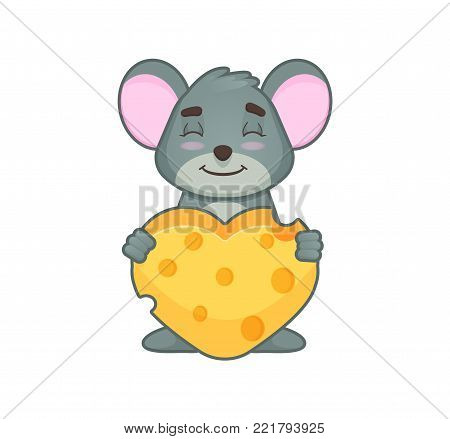 Cute mouse with hearth smiling with close eyes and hearth made of cheese. cartoon style. Vector illustration isolated on white background