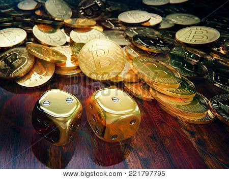 Bitcoin dice gambling, stack of  coins and golden dice, 3D illustration