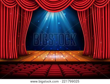 A theater stage with a red curtain and a spotlight and wooden floor. Festival Night Show poster. Vector.