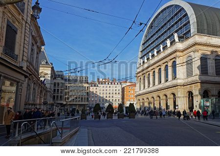 LYON, FRANCE, January 13, 2018 : The Opera. The Opera National de Lyon is a French opera company that performs in the Opera Nouvel, a modernized version in 1993 of the original 1831 opera house.