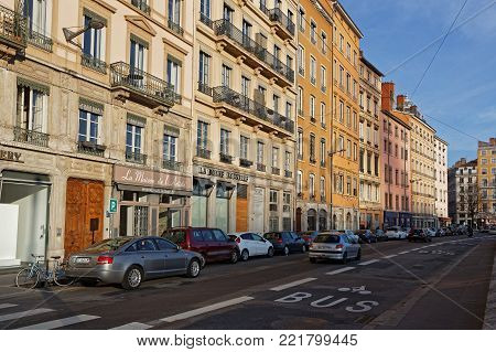 LYON, FRANCE, January 13, 2018 : Quais du Rhone. Lyon also known in English as Lyons, is the third-largest city of France and is located at the confluence of the rivers Rhone and Saone.