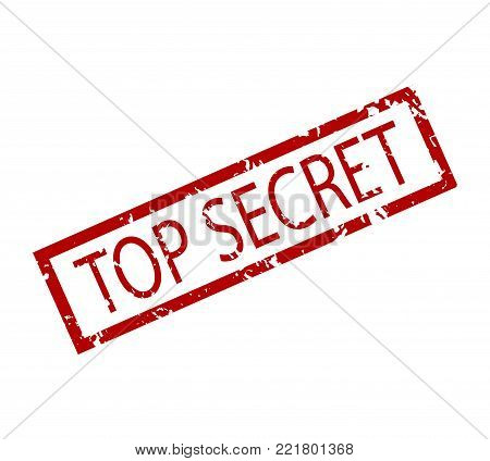 Top secret rubber stamp isolated. Vector government secret seal, textured badge private illustration