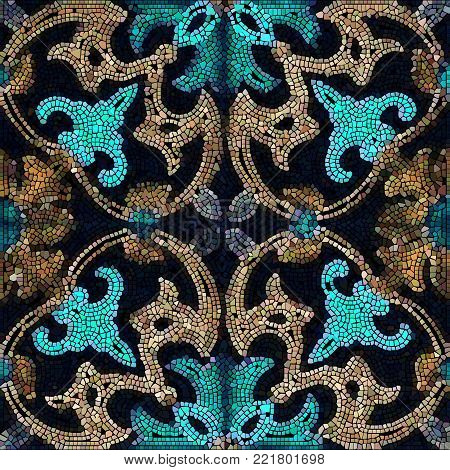 Vector  Ceramic Patterned Mosaic Smalt Majolica Illustration