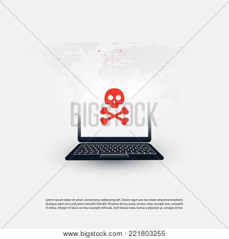 Computer Vulnerability, Infected Machine, Hacker Attack - IT Security Concept Design, Vector illustration