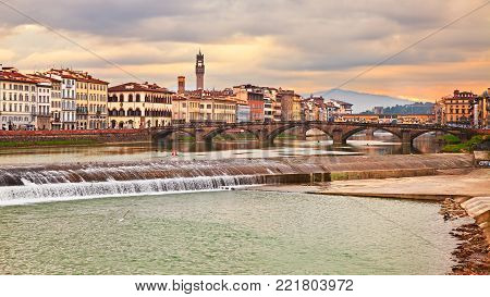 Florence, Tuscany, Italy: landscape of the city and the Arno river with its bridges