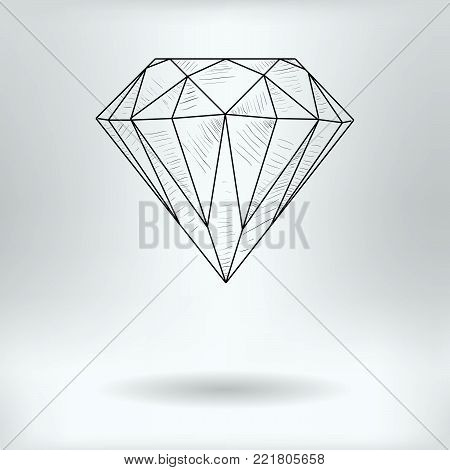 Cartoon Symbol of Faceted Diamond  - Jewel Concept -  Drawing Sketch Vector Illustration