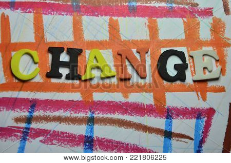 word change on an   abstract colored background