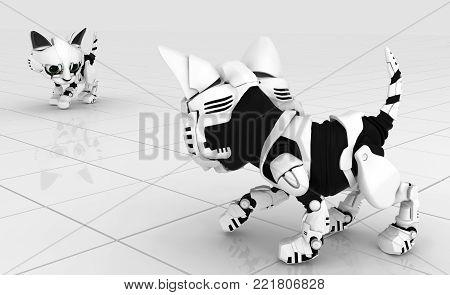 Robotic kittens white tile surface confrontation, 3d illustration, horizontal background