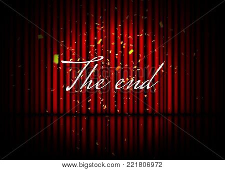 The end. Theatrical scene with red curtains, reflection and confetti. Stock vector illustration