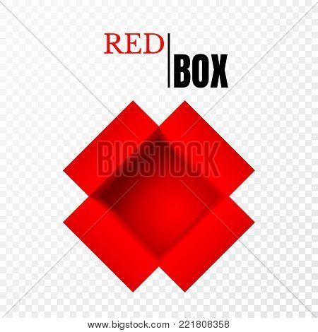 Open box, red empty paper cardboard, vector container.