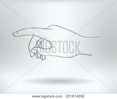 Drawing Finger Pointing Icon  -  Index Gesture  Concept -  Vector Illustration
