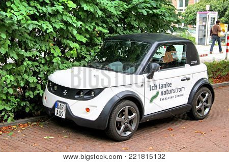 Berlin, Germany - September 12, 2013: Electric car Tazzari Zero in the city street.