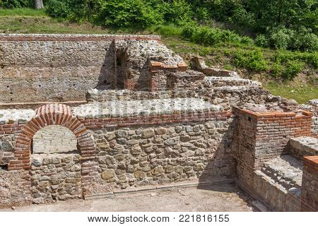 Remains of the builings in the ancient Roman city of Diokletianopolis, town of Hisarya, Plovdiv Region, Bulgaria