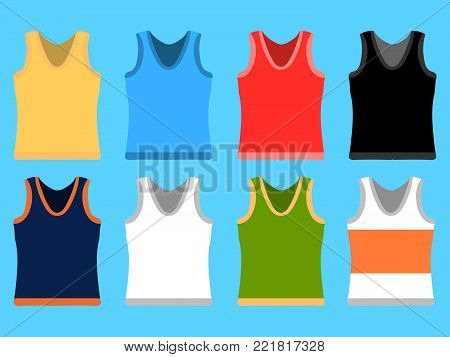 Tank Top set simple icons. Yellow, red, blue, white pullovers isolated on blue background. Flat design  Illustration